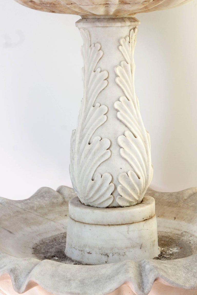 20th Century Two-Tiered Fountain of White Marble with Spitting Fish / Carp For Sale