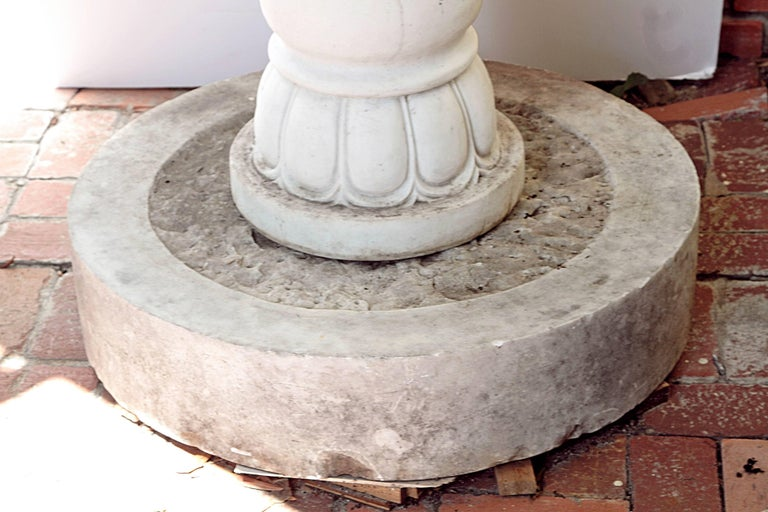 Two-Tiered Fountain of White Marble with Spitting Fish / Carp 9