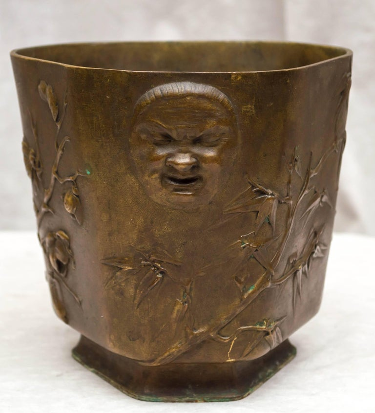 Japonisme Japonesque Bronze Cache Pot by Berndorf, Austria, circa 1890 For Sale