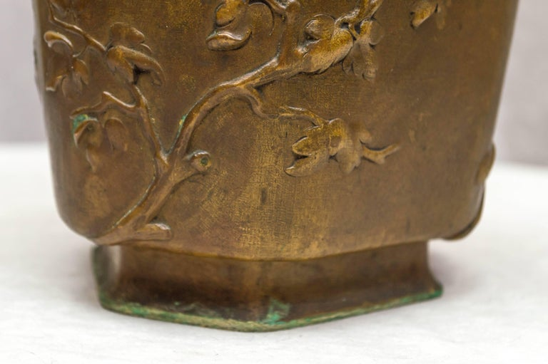 Cast Japonesque Bronze Cache Pot by Berndorf, Austria, circa 1890 For Sale