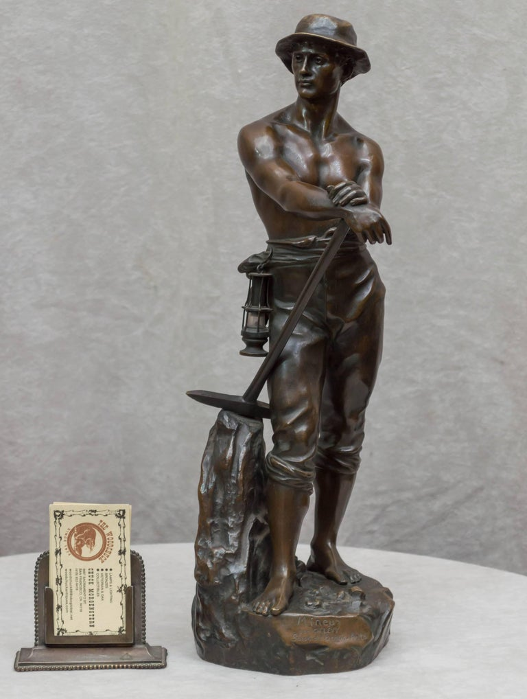 This handsome young man is the highest quality casting you can create. He is incredibly handsome, and has all the little accoutrements that a miner would have, right down to the lantern on his side.   Artist signed Charles Levy, who was a noted