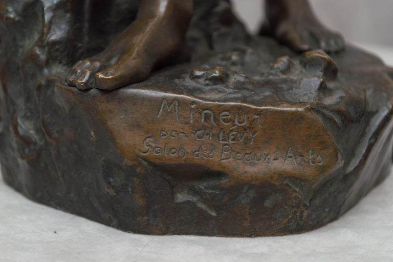 Beaux Arts Bronze Figure of a Miner For Sale