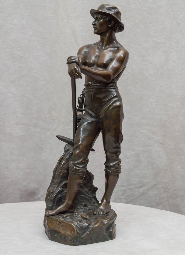 Patinated Bronze Figure of a Miner For Sale