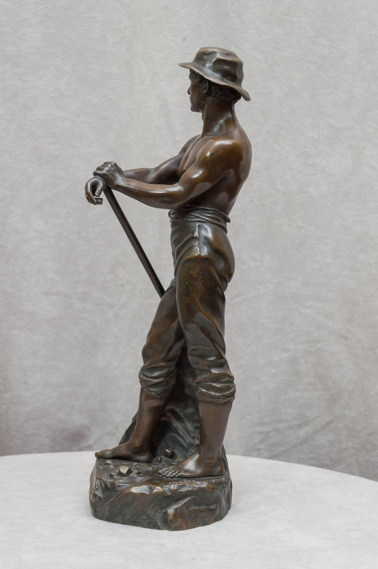 20th Century Bronze Figure of a Miner For Sale