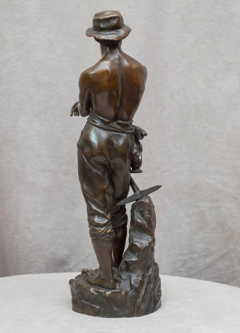 Bronze Figure of a Miner For Sale 1