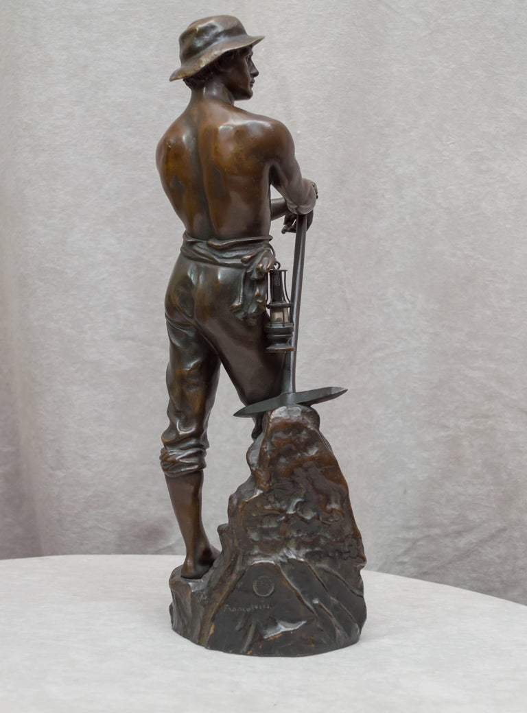 Bronze Figure of a Miner For Sale 2