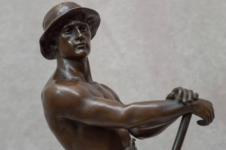 Bronze Figure of a Miner For Sale 4