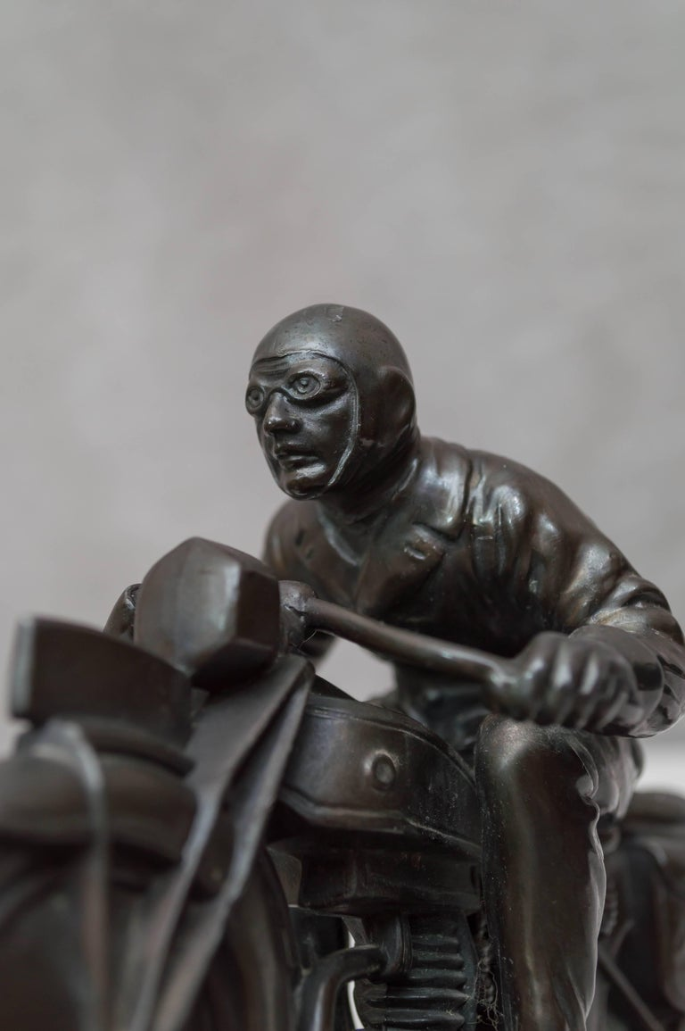 Antique Motorcycle And Rider Statue At 1stdibs