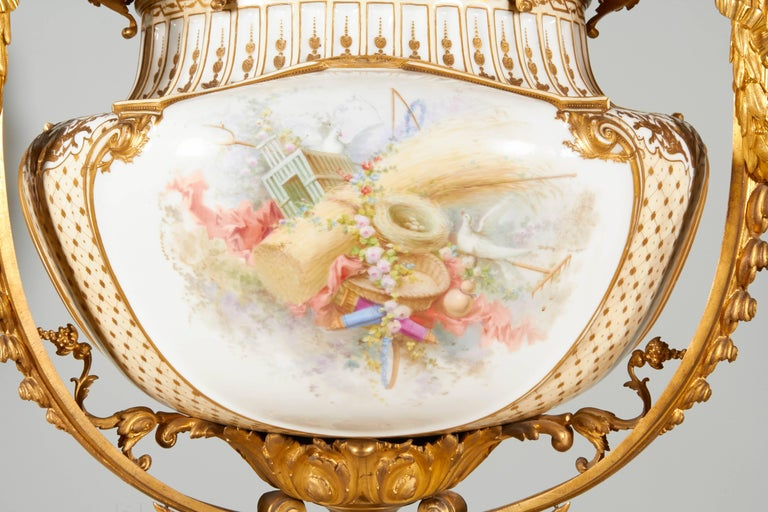 Important and Monumental Pair of Ormolu and Sèvres Style Porcelain Jardinieres 3