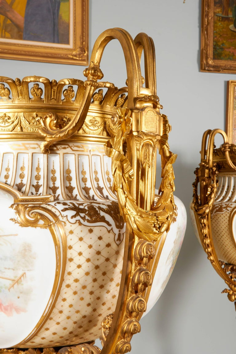 Important and Monumental Pair of Ormolu and Sèvres Style Porcelain Jardinieres 6