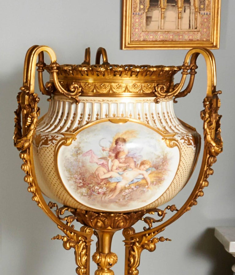 Important and Monumental Pair of Ormolu and Sèvres Style Porcelain Jardinieres 9