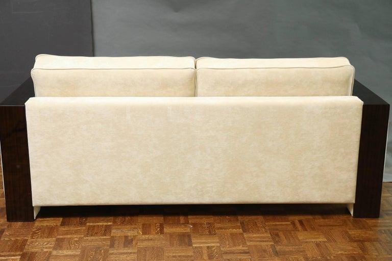 Fabric Italian Mid-Century Sofa in Walnut For Sale