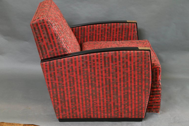 Fabric  Pair of French Mid-Century Armchairs in Walnut For Sale