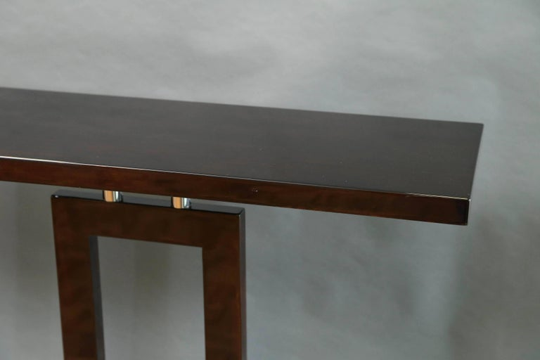 Mid-Century Modern Italian Mid-Century Console in Palisander Wood with Chrome For Sale