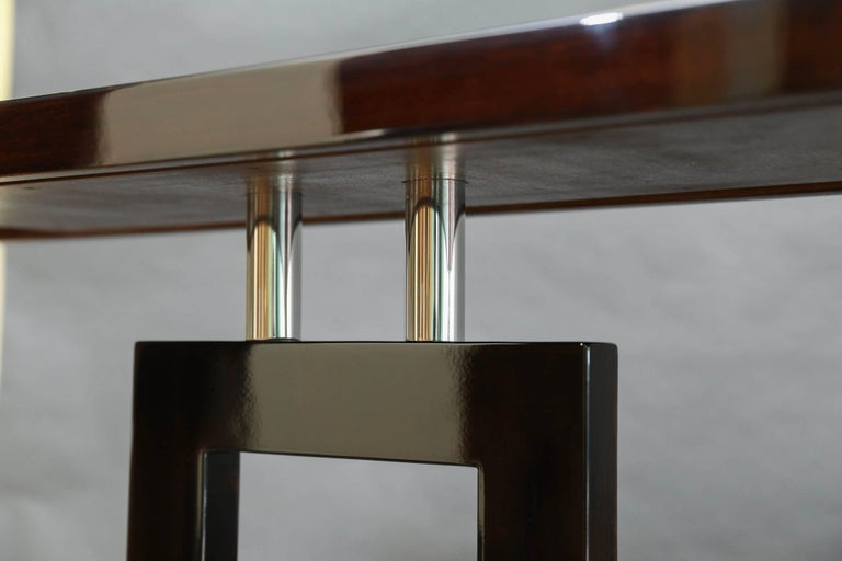 Italian Mid-Century Console in Palisander Wood with Chrome For Sale 1