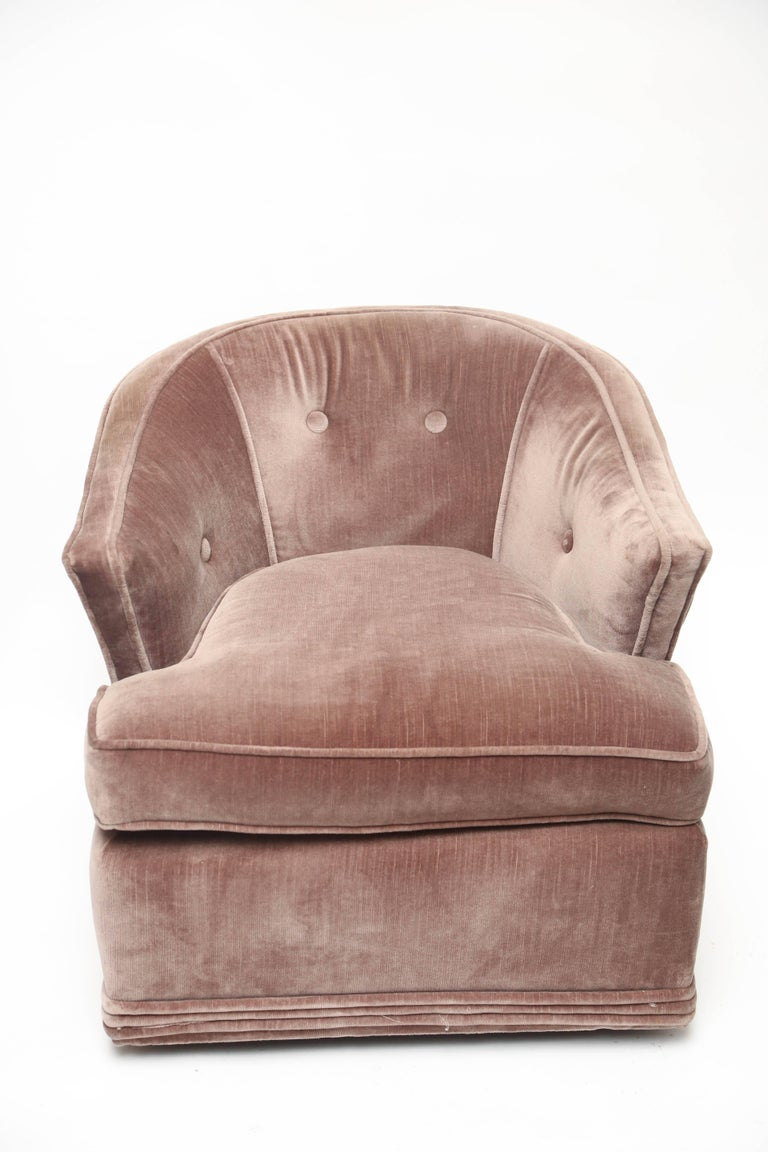 Gorgeous original condition upholstered lounge chair. Made in Palm Beach.