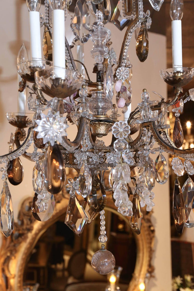 French Bronze and Crystal Chandelier with Rock, Smoke and Amethyst Crystals For Sale 2