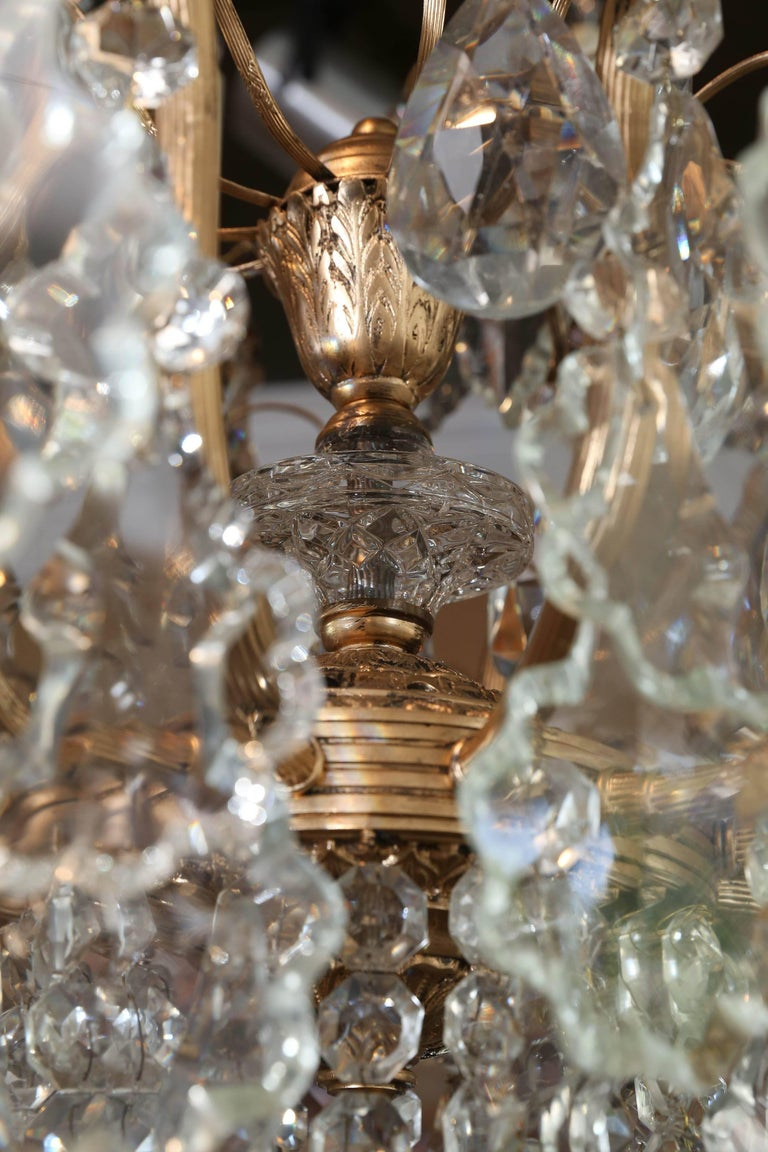 Large French Gilt Metal And Crystal Twelve Light