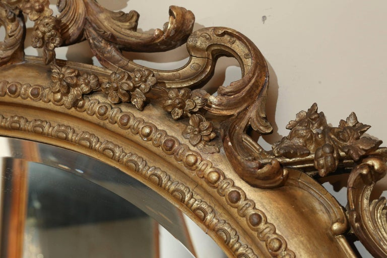 Pair of Louis Philippe Giltwood Oval Mirrors, 19th Century Rococo Revival Taste In Excellent Condition For Sale In Houston, TX