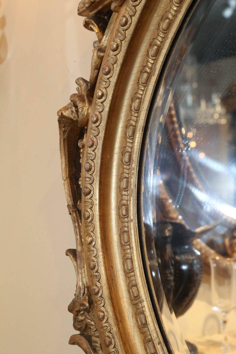 Pair of Louis Philippe Giltwood Oval Mirrors, 19th Century Rococo Revival Taste For Sale 2