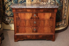 French Charles X style  walnut chest of drawers, 19th century,marble top
