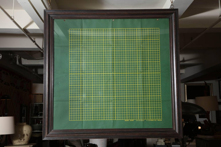 A.J. Nystrom & Company of Chicago, IL, double-sided scientific graph chart, circa 1940, framed in a custom double sided walnut frame.