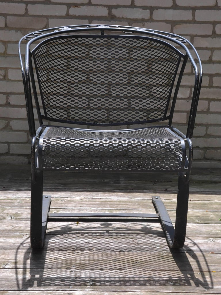 Set Of Four Woodard Wrought Iron Barrel Back Chairs Salterini For Sale At 1stdibs