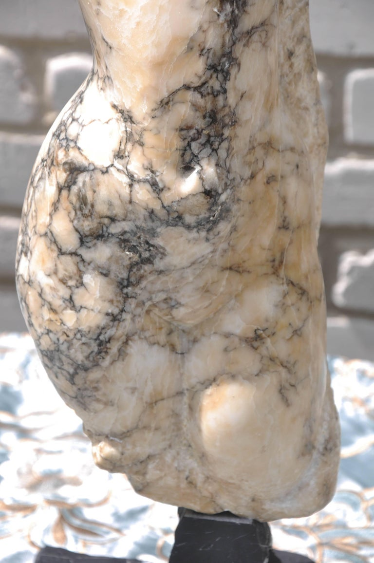 Hand-Carved Italian Abstract Marble Torso Sculpture For Sale