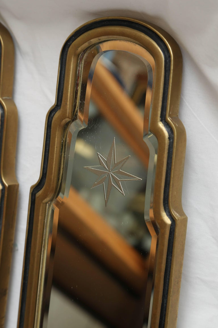American Pair of Etched Starburst Mirrored Sconces by Chapman For Sale