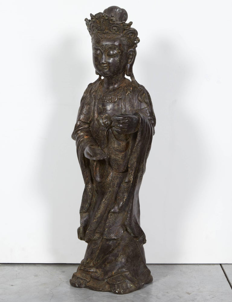 Chinese Standing Antique Bronze Buddha Sculpture with Crown and Elaborate Flowing Robes For Sale