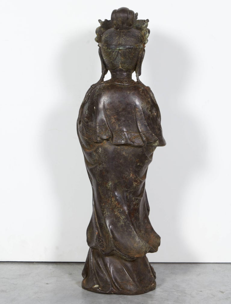 20th Century Standing Antique Bronze Buddha Sculpture with Crown and Elaborate Flowing Robes For Sale