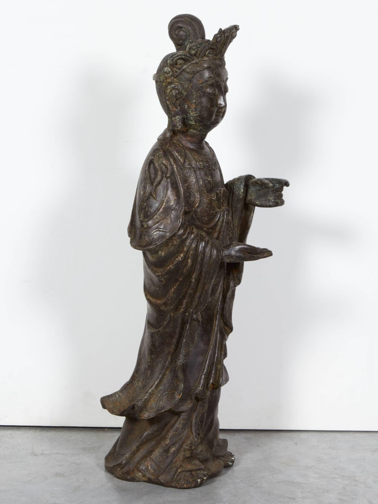 Standing Antique Bronze Buddha Sculpture with Crown and Elaborate Flowing Robes For Sale 1