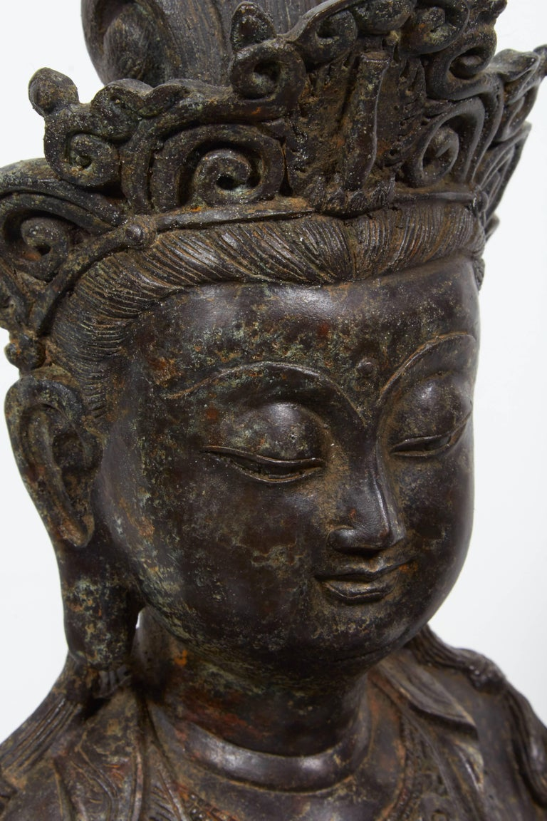 Standing Antique Bronze Buddha Sculpture with Crown and Elaborate Flowing Robes For Sale 5