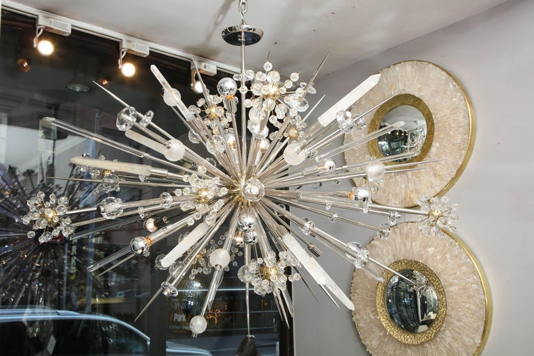 Custom rock crystal and Austrian crystal Sputnik chandelier in polished nickel with bronze spheres.