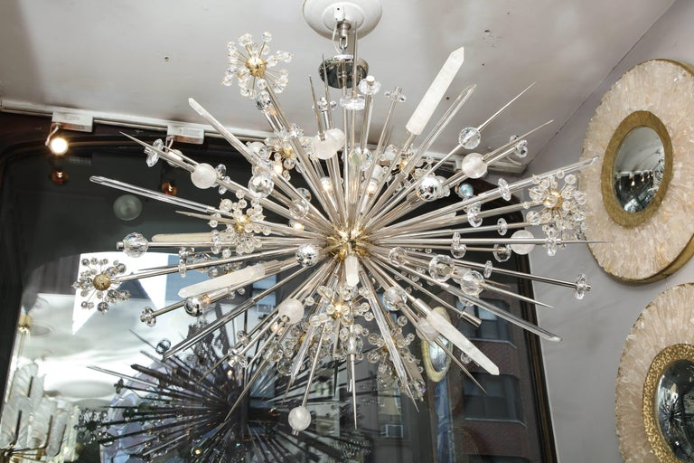Mid-Century Modern Custom Rock Crystal and Austrian Crystal Sputnik Chandelier For Sale