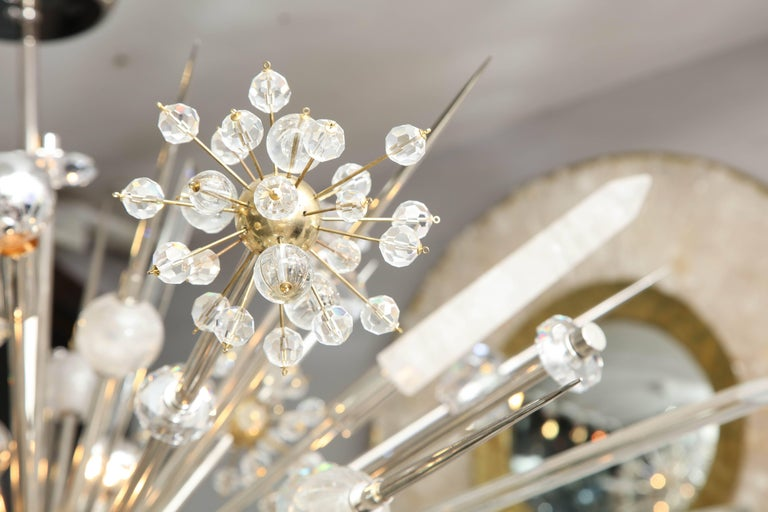 Custom Rock Crystal and Austrian Crystal Sputnik Chandelier In Excellent Condition For Sale In New York, NY