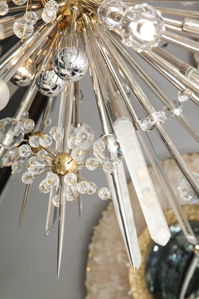 Contemporary Custom Rock Crystal and Austrian Crystal Sputnik Chandelier For Sale