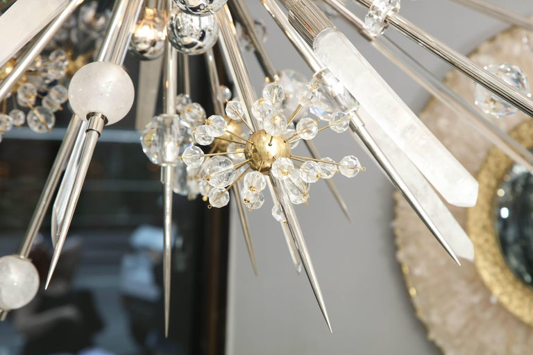 Custom Rock Crystal and Austrian Crystal Sputnik Chandelier For Sale 2