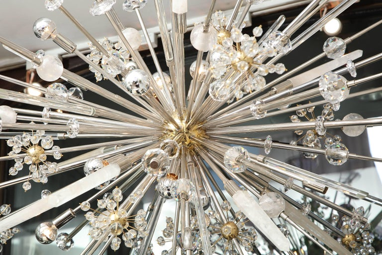 Custom Rock Crystal and Austrian Crystal Sputnik Chandelier For Sale 3