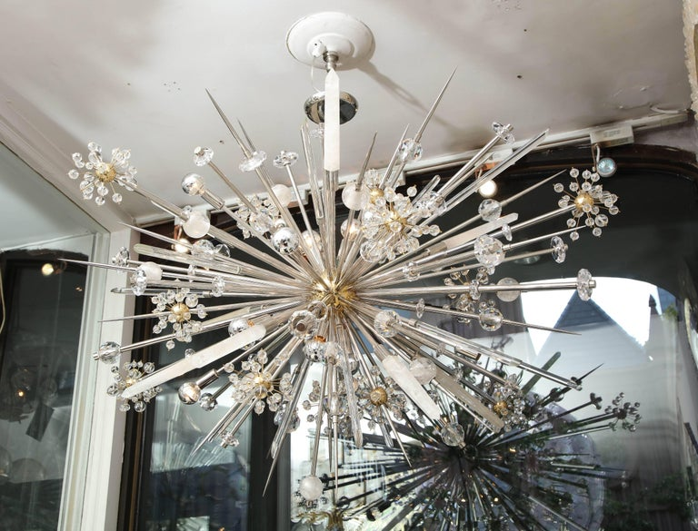 Custom Rock Crystal and Austrian Crystal Sputnik Chandelier For Sale 4