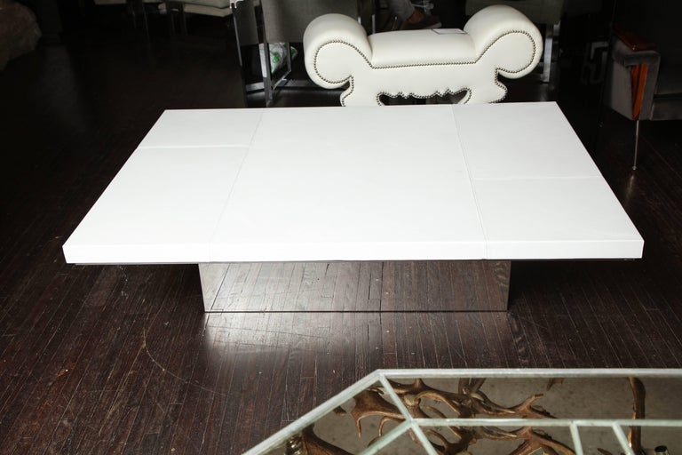 Custom White Leather Cocktail Table For Sale At 1stdibs