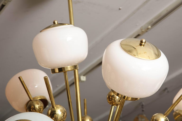 Contemporary Italian Milk Glass and Brass Sputnik For Sale