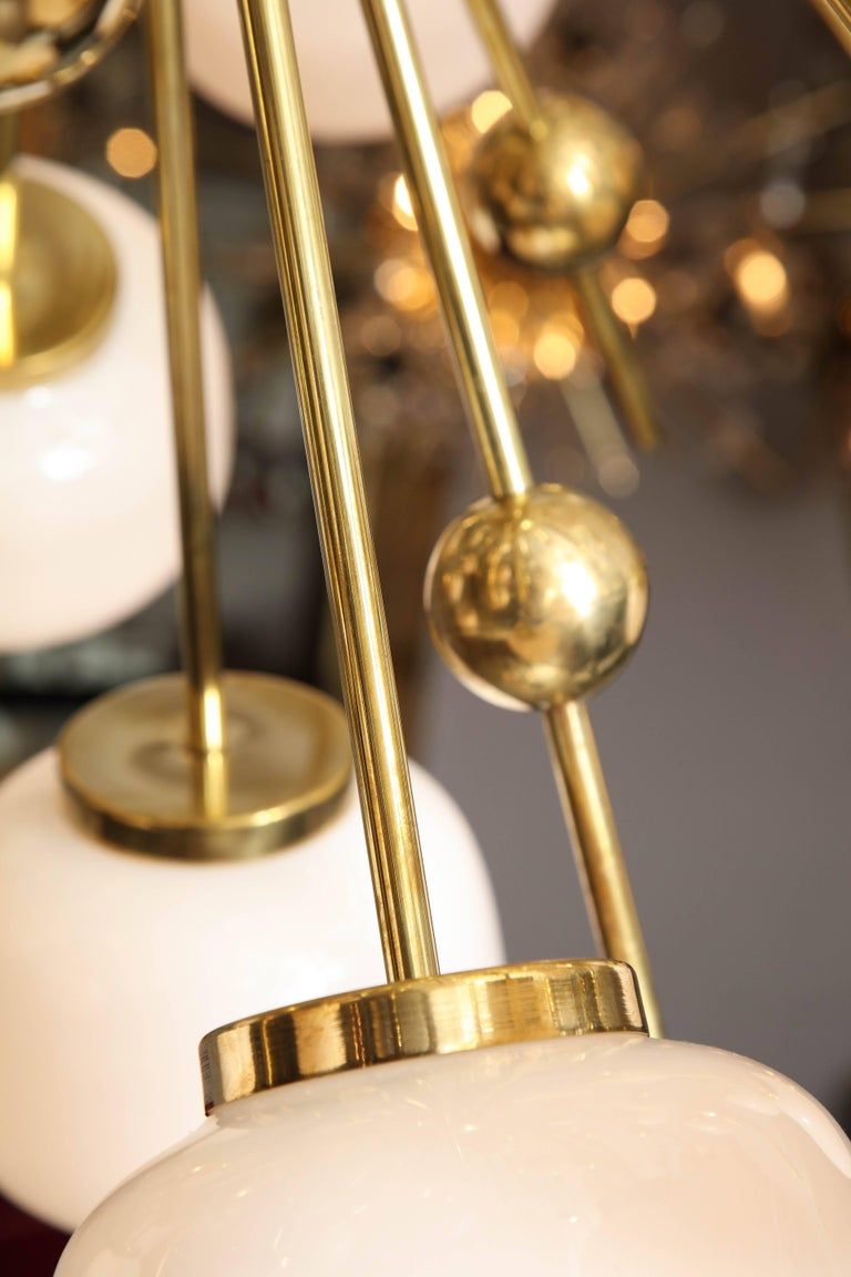 Italian Milk Glass and Brass Sputnik For Sale 1