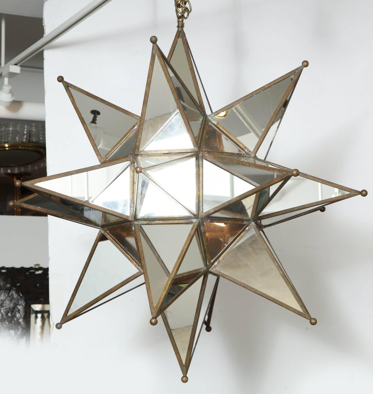 French Grand Mirrored Starburst Pendant Light For Sale