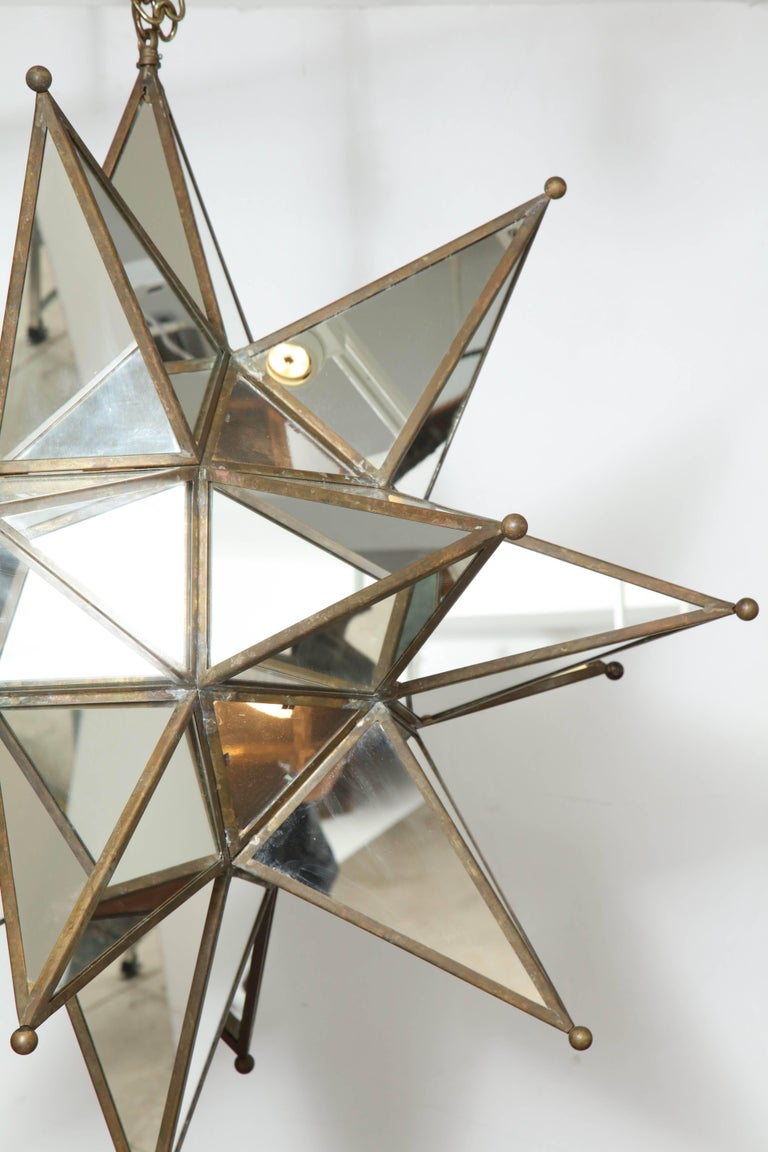 Grand Mirrored Starburst Pendant Light In Good Condition For Sale In Mt. Kisco, NY