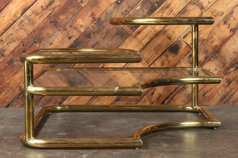 Milo Baughman Style Brass Swivel Glass Coffee Table For Sale At 1stdibs