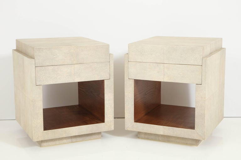 Art Deco Shagreen Bedside Tables or Side Tables, Cream Color Shagreen & Palm Wood Details For Sale