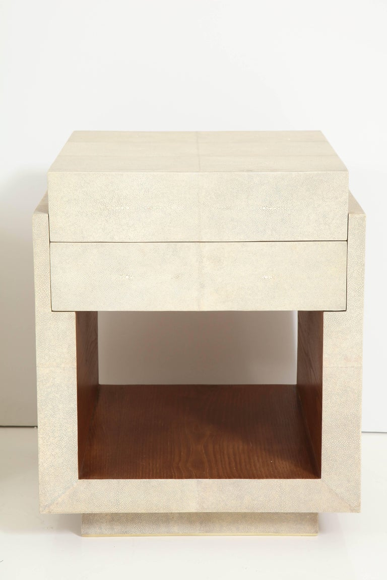 Philippine Shagreen Bedside Tables or Side Tables, Cream Color Shagreen & Palm Wood Details For Sale