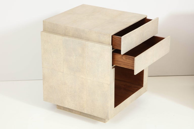 Shagreen Bedside Tables or Side Tables, Cream Color Shagreen & Palm Wood Details For Sale 1