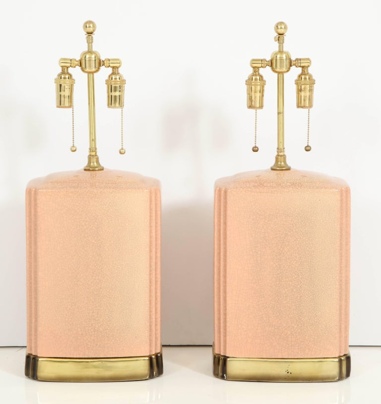 American Pair of Crackle Glazed Ceramic Lamps For Sale